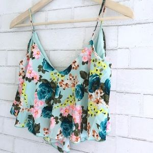 Tops - Flowy Floral Crop Top - size S